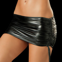 Metallic Black Micro Mini Skirt