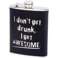 Maxam® 8oz Stainless Steel Flask with Genuine Leather Wrap