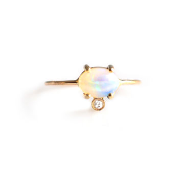 14kt Gold Diamond and Opal Fiore Ring