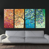 Canvas painting poster Colourful Leaf Trees 4 Piece painting Wall Art Modular pictures for Home Decor wall art picture painting