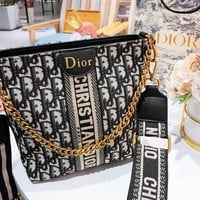 DIOR fashion hot selling canvas woven full printed logo lady diagonal shoulder bag High quality
