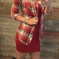 Penny Plaid Flannel Top: Red/Ivory