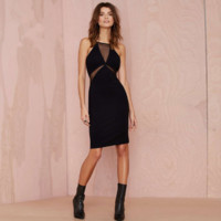 Fashion Perspective Gauze Stitching Sleeveless Pencil Vest Dress