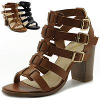 Ollio Womens Shoes Gladiator Ankle Highs Booties Sandals