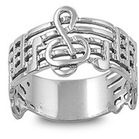 Sterling Silver Music Note Ring 12mm ( Size 5 to 10)