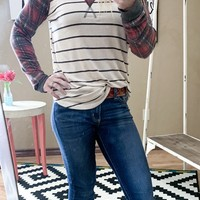 Zoe Plaid And Stripes top