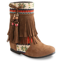 Ethntic Pattern Fringed Suede Boots