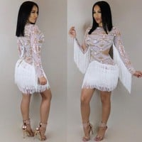 DCCKBTW VOGUE FRINGED DRESS (WHITE)