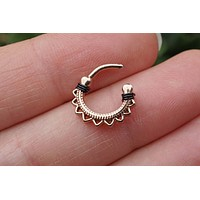 Rose Gold Lotus Mandala Daith Hoop Ring Rook Hoop Cartilage Helix