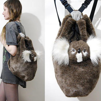 80s Vintage KOALA Bag FAUX FUR Backpack Plush Australia Teddy Bear Rucksack School Bag Toy Kawaii Kitsch Cute Fluffy Club Kid Rave 1980s vtg
