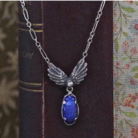 Winged Scarab Necklace, Handmade Sterling Silver Blue Enamel and Diamond, Art Nouveau Inspired, Hand Crafted & Limited Edition Pendant