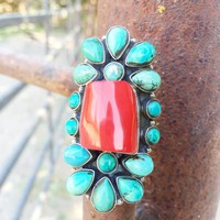 Coral & Turquoise Cluster Ring