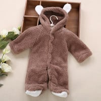 Hot Sale Funny Animal Design Footed Jumpsuit for Babies 0-12 months Cute Warm and Soft Hooded Baby Rompers Newborn Baby Clothing