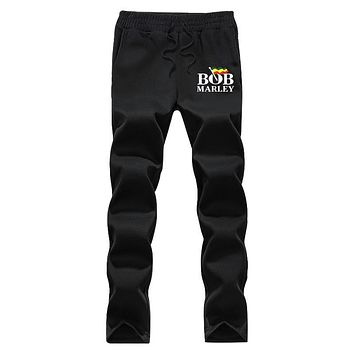 XIULUO Bob Marley 2017 New Brand Fashion Sweatpants Trousers Men fleece  Casual Pants Mens Clothes Tracksuit  gray and Black
