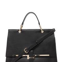 Structured Faux Leather Satchel