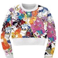 Women's Adventure Time Collage Sports Crop Top Fitness Sweatshirt