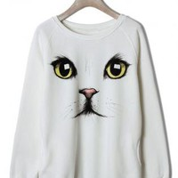 White Cat Print Sweater with Ribbed Detail & Round Neckline