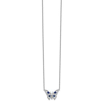 14k White Gold Real Diamond & Sapphire Butterfly Necklace