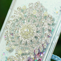 """Twinkle Glitter Diamond Stars Brooches Flowing Water Liquid Case For iPhone 6 6s 4.7"""" 6 plus 6s plus 5.5"""" Clear Quicksand Covers"""