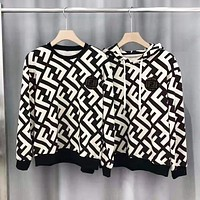 Fendi New fashion more letter print couple hooded long sleeve sweater