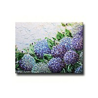 GICLEE PRINT Art Abstract Painting Hydrangea Flowers Floral Impasto Lavender Purple Canvas Prints