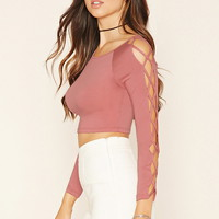 Crisscross-Sleeve Crop Top
