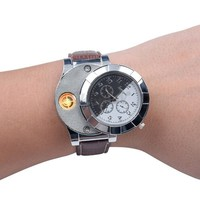 F667  Rechargeable USB Lighter Watches Electronic  Casual Quartz Wristwatches Windproof Flameless Cigarette Lighter watch