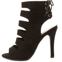 Laced-Back Cut-Out Peep Toe Heels by Charlotte Russe - Black