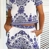 Porcelain Print Shorts Sets