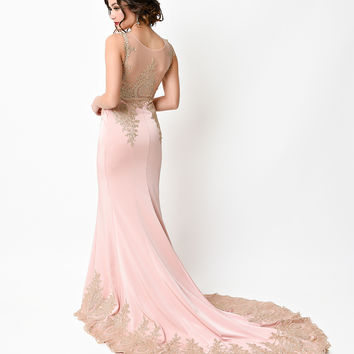 1930s Style Rose & Gold Filigree Bias Cut Satin Gown