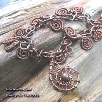 Copper Wire Wrapped Spirals Necklace With Gold Rutilated Quartz Clasp