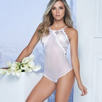 Sheer Mesh And Lace Teddy