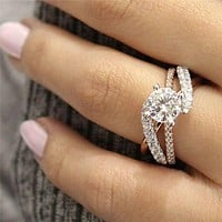 GS Round AAA Cut Cubic Zircon Engagement Rings For Women Ladies Rose Gold Sliver Color Wedding Ring Jewelry Gifts Anillos Mujer