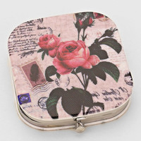 Vintage Love Note With Roses Compact Mirror