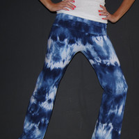 Tie Dyed Fold Over Yoga Pants in Acid Wash Effect in Navy and Wedgewood Blue