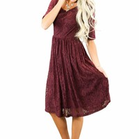 Emmy Modest Bridesmaid Dress in Burgundy Lace