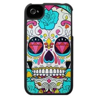 Sugar Skull and Turquoise Blue Roses Ornate Art iPhone 4 Covers from Zazzle.com
