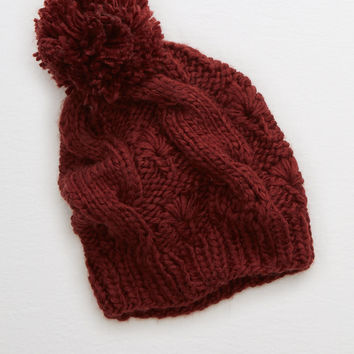 Aerie Pom-tastic Cable Beanie, Wishful Rose