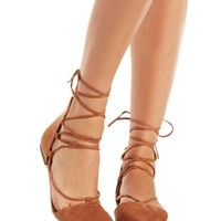 Camel Pointed Ankle Flats by Charlotte Russe