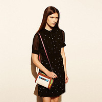 Coach Swagger Wristlet in Rainbow Colorblock Leather