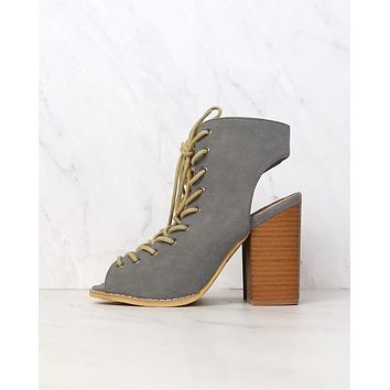 Final Sale - Minimalist Lace Up Peep Toe Heel in Grey