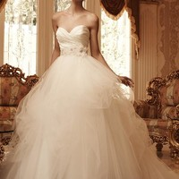 Casablanca Bridal 2103 Soft Tulle Strapless Ball Gown Wedding Dress