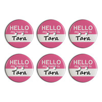 Tara Hello My Name Is Plastic Resin Button Set of 6