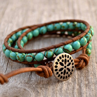 Turquoise beaded leather wrap bracelet. Boho chic double wrap bracelet. Stack bracelet