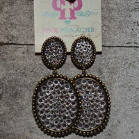 Pink Panache bronze/silver double earrings