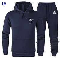 A Adidas Fashion Men Women Casual Print Long Sleeve Hoodie Sweater Pants Two Piece Set Sportswear 1#