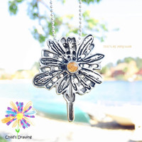 Custom Daisy Pendant with a Yellow Citrine- Sterling Silver Sunflower Charm- Mother's Day Jewelry-