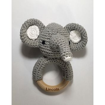 Engraved Personalized Crochet Elephant Montessori Wooden Teether Rattle Organic Wood Teething Ring Gift for Baby Shower
