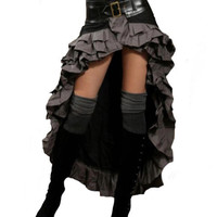 Steampunk Couture Black & Grey Waterfall Ruffle Vintage Victorian Bustle Skirt