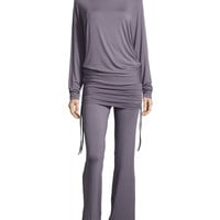 Lounge with Me Batwing Top and Wide-Leg Pant PJ Set, Gray Lavender, Size: